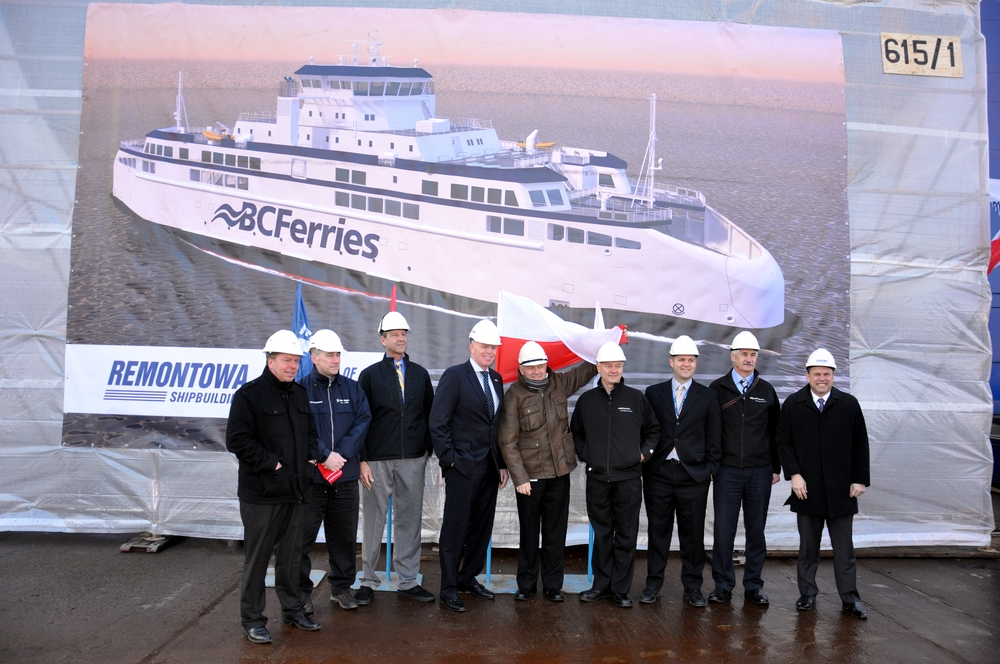 First steel cutting and keel laying for the first of Canadian ferry trio
