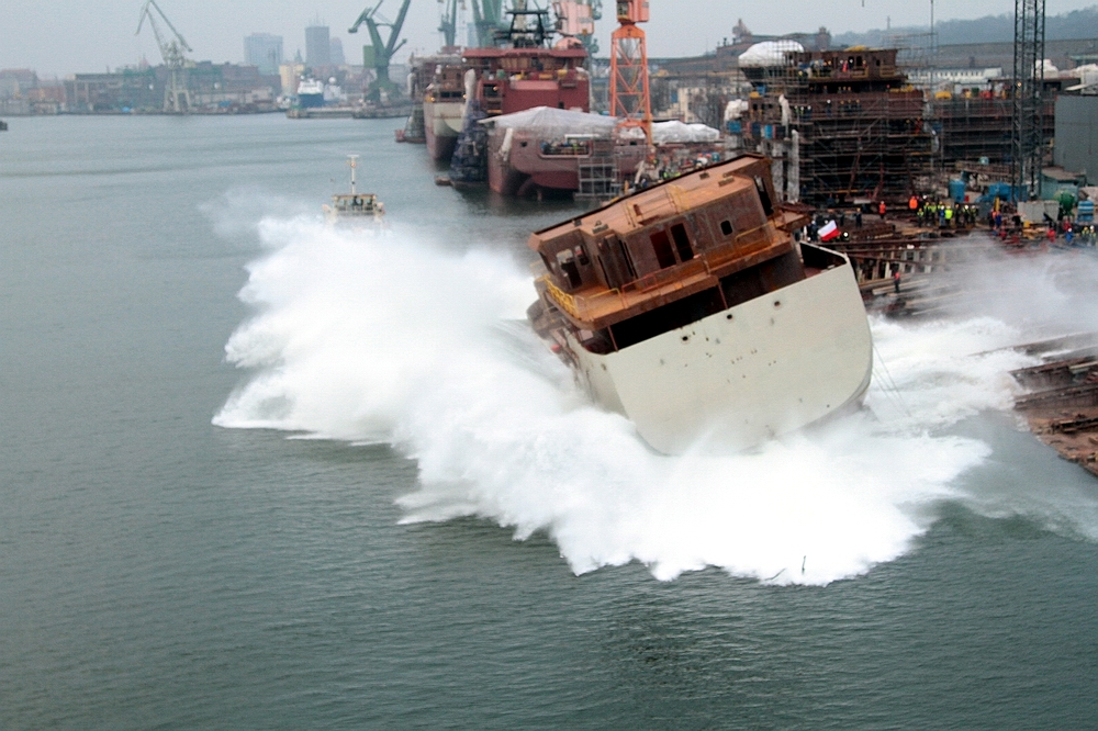 Side - launching of the 36 TEU arctic supply vessel at Remontowa Shipbuilding. Photo: Piotr B. Stareńczak