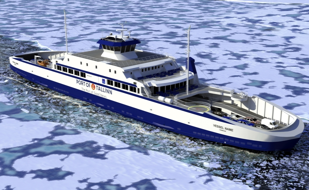 A computer rendering of the ferry under construction at Remontowa Shipbuilding in Gdansk. Fig.: RMDC