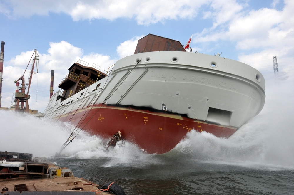 A 36 TEU vessel tbn Minik Arctica was launched on April 30, 2015. Photo: RSB
