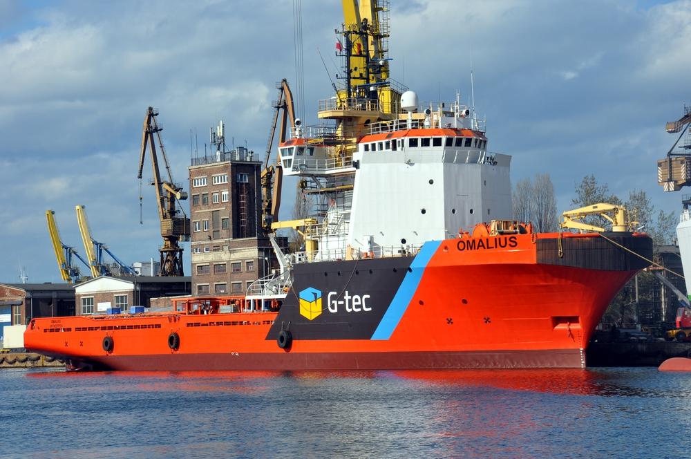 Omalius in new livery converted into drilling vessel at Remontowa. Photo: Piotr B. Stareńczak