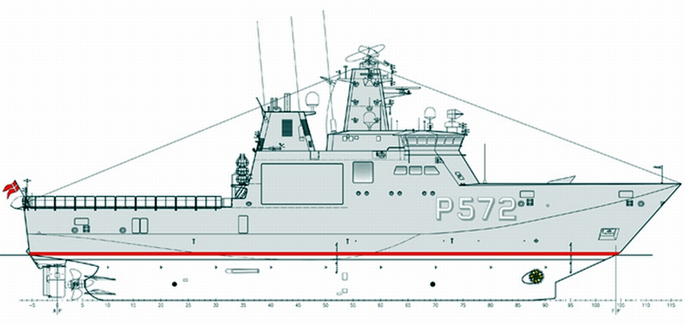 """Profile of the """"Knud Rasmussen"""" class patrol vessel with hulls from Stal-Rem and Crist. Fig.: Karstensens Skibsvarft A/S"""