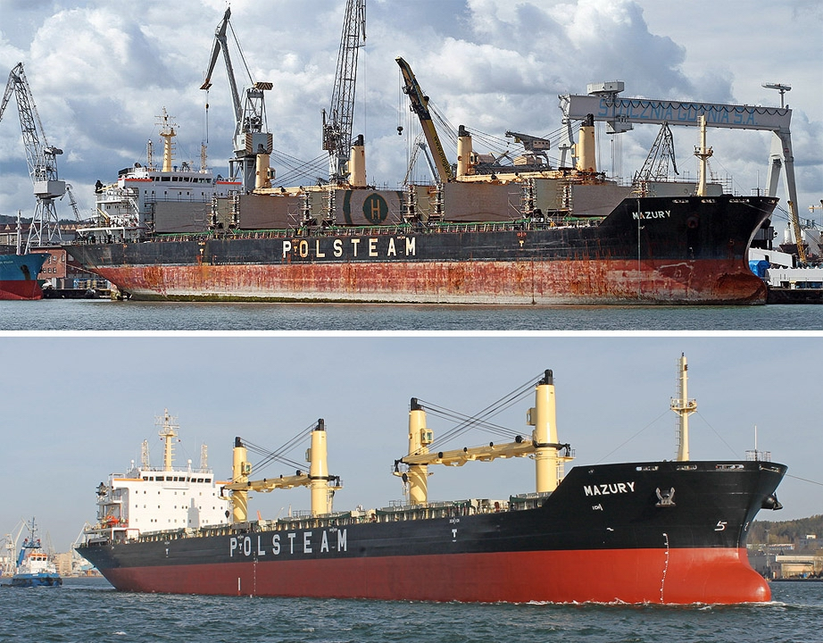 Bulk carrier Mazury PŻM operated during (the upper picture) and after its repair (the lower picture) at Nauta. Photo.: Piotr B. Stareńczak, SR Nauta
