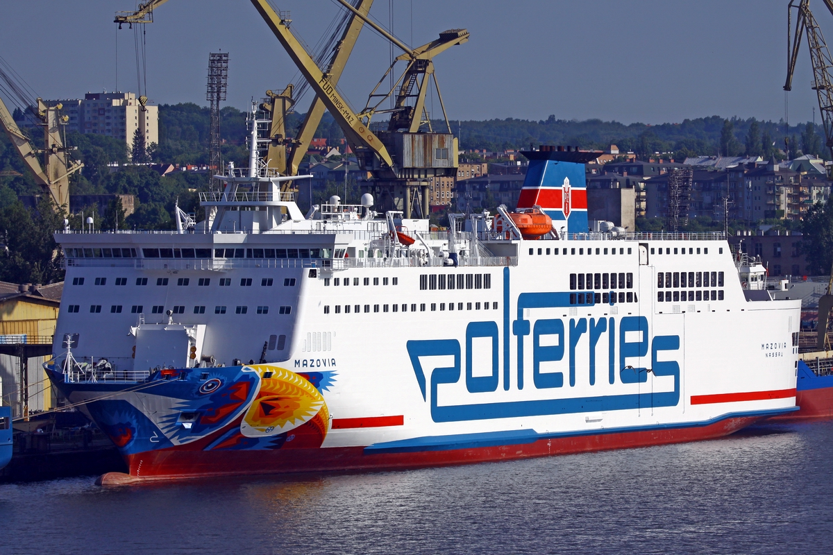 Polferries owned and operated, the Mazovia ferry, berthed in Szczecin. Photo: Piotr B. Stareńczak