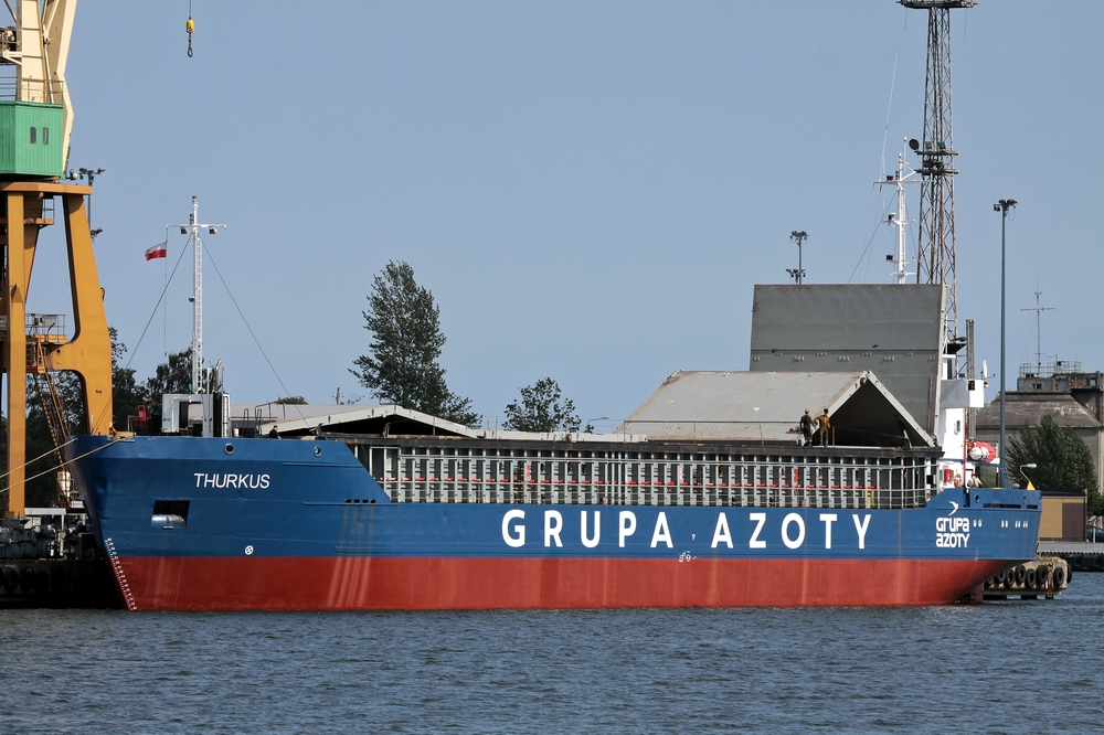Reefer, chemical tanker and coastal cargo ship at Naval Shipyard Gdynia