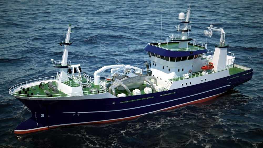 Double launch of seiners partly outfitted hulls in Nauta