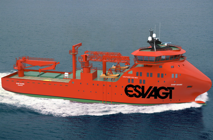 A computer rendering of the ship, the hull of which is under construction at Nauta Fig.: Havyard Design As/GunnarF AS