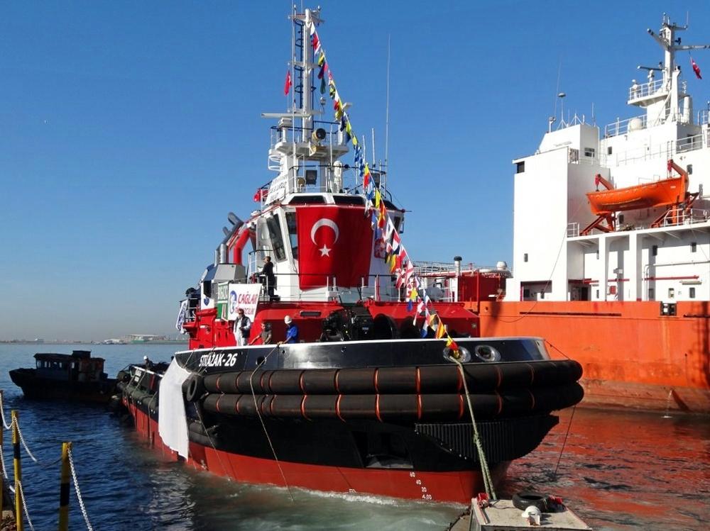 Launching of the Strażak-26 tug in Turkey. Photo: Bogazici Shipping