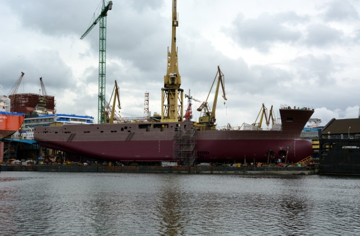 The ship onboard a heavy lift barge precisely connected to a floating dock. Photo: Ireneusz Gradkowski