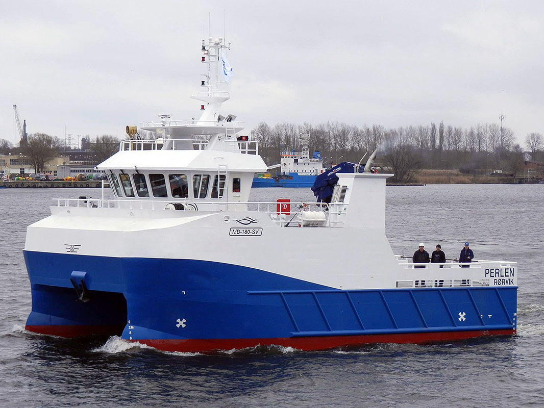 Fish farm service catamaran for Norwegian interests on trials