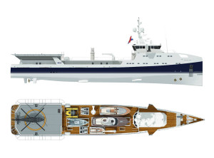 Sea Axe 6911 design renderization. Fig.: Yacht Support