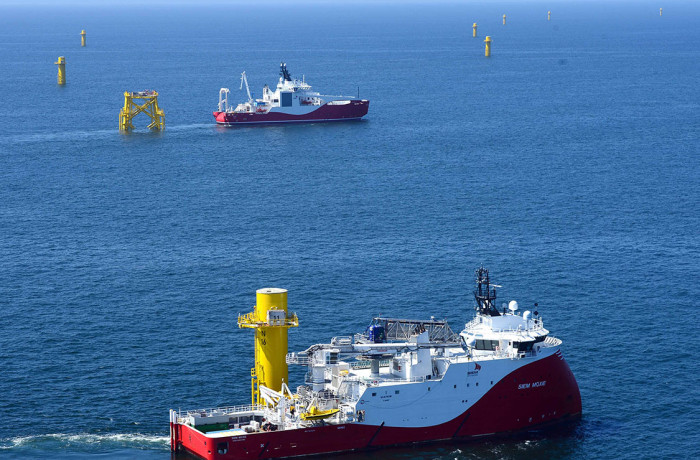 Siem Moxie (closer) and Siem Aimery (distant) seen working on Nordsee One offshore wind farm