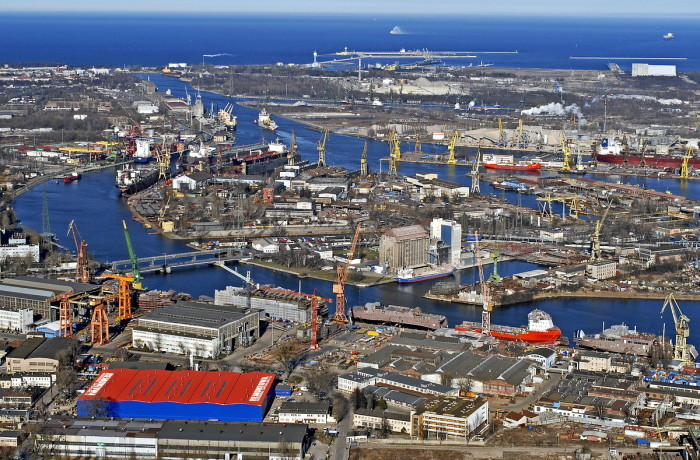 A view of the Ostrow Island in Gdansk where the headquarters of Remontowa Holding group is located with the two largest Polish shipyards for which the new law may bring a beneficial effect.