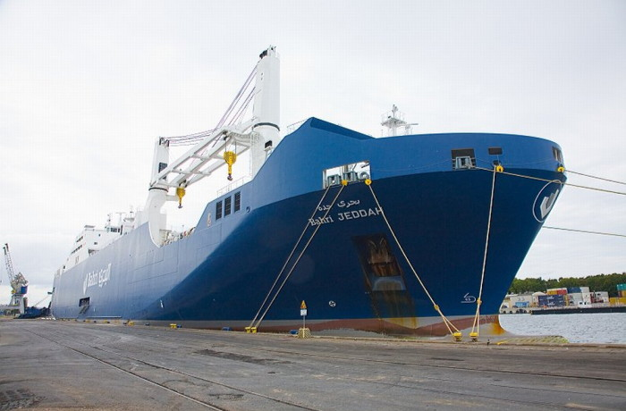 The Bahri Jeddah vessel berthed at the quay. Photo: Port of Gdańsk