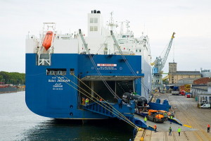 The railway cars while being loaded onto the ro-ro vessel. Photo: Port of Gdańsk
