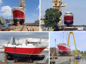 Launching of the hull for Macduff newbuilding no. 673.