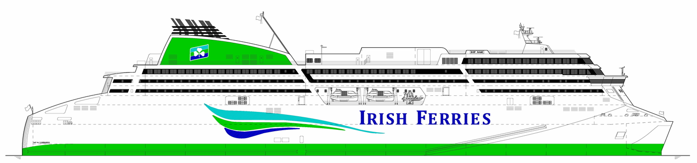 Profile of the Flensburger Schiffbau-Gesellschaft yard's vessel for Irish Ferries, the superstructure of which will be built at GSG and Marine Projects. Fig.: FSG