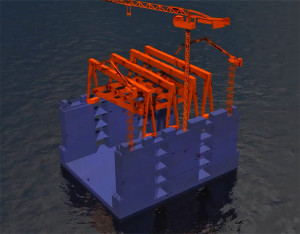 Caisson construction floating dock renderization