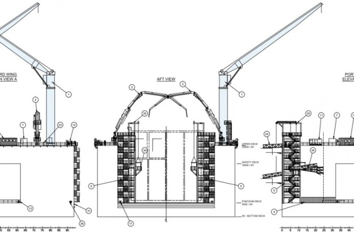 Part of the general arrangement drawings for a new caisson construction floating dock