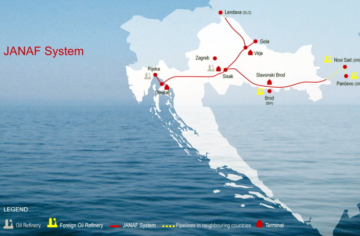 Scheme of Adriatic oil transportation system. Fig.: Janaf Plc.