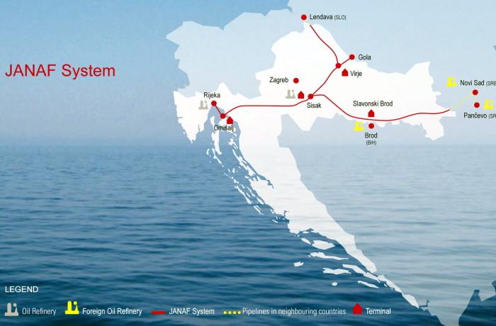 Scheme of Adriatic oil transportation system. Fig.: Janaf Plc.