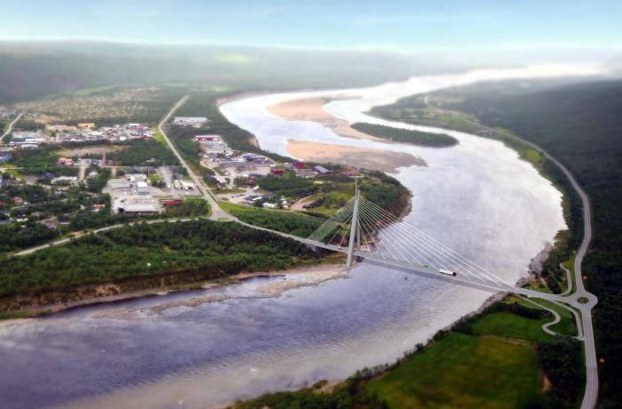 A computer visualization of a new Tana Bridge. Fig.: Statens Vegvesen