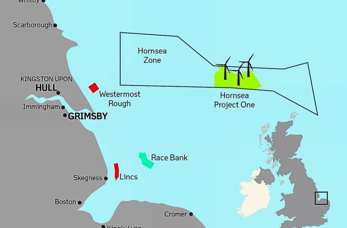 A map illustrating where the Hornsea Project One wind farm will be located. Fig.: Dong Energy
