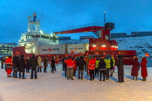 Welcoming Minik Arctica in the port of Nuuk. Photo: Royal Arctic Line