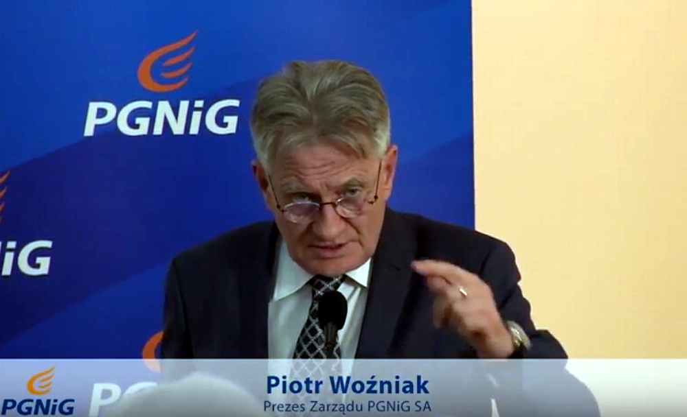 Piotr Woźniak, CEO of PGNiG Polish Oil and Gas Company during the press conference.