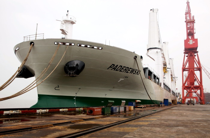 The newly built Paderewski general cargo ship at Shanghai Shipyard. Photo: courtesy of Chipolbrok