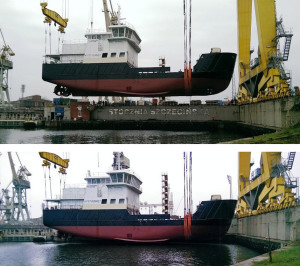 The partially outfitted hull was launched in Szczecin, Poland, on November 16, 2015. Photo: Hvide Sande