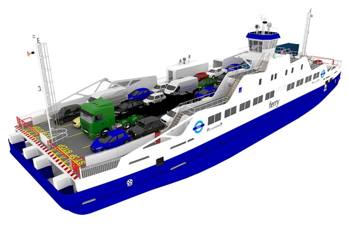 Computer rendering of the hybrid ferry on order from Remontowa Shipbuilding and destined for operation on the River Thames in London. Fig.: LMG Marin