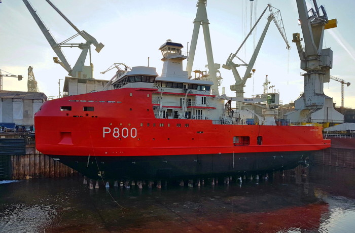 L'Astrolabe in Crist SA yard's dock just prior to start of the dock flooding. Photo: Piotr B. Stareńczak