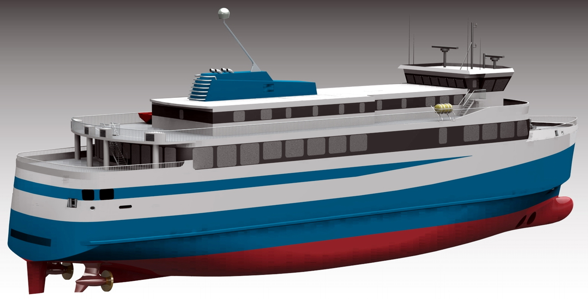 A computer visualization of the new ferry of Polarkonsult design PK-259.1. Fig.: Polarkonsult AS