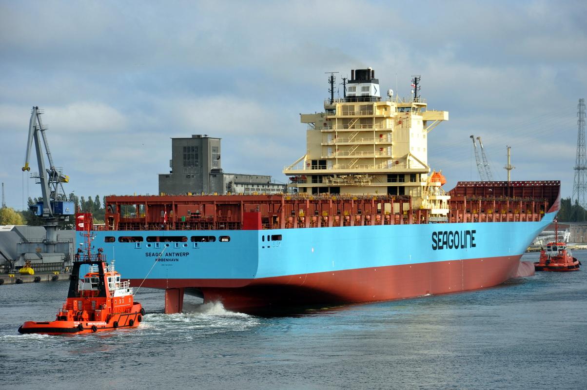 The Seago Antwerp container ship seen in Gdansk. Photo: Piotr Stareńczak