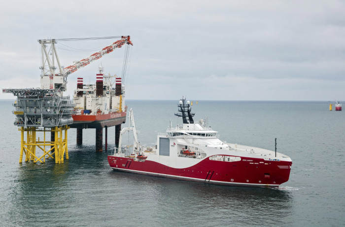 The CLV Siem Aimery working on the Veja Mate Offshore Wind Farm. Photo: Siem Offshore Contractors