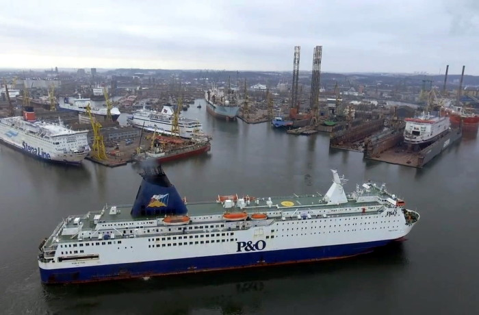 The Pride of York entering the Remontowa Shiprepair Yard in Gdansk. Photo: courtesy of Remontowa SA