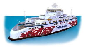 An artist's rendering of the new Salish Eagle vessel with artwork by John Marston. Fig.: BCF