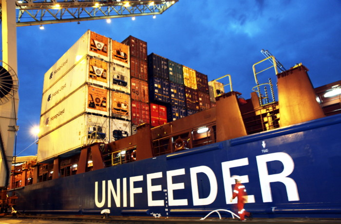 Unifeeder deals with transporting containers from the large European container hubs. Photo: Unifeeder