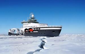 A computer rendering of the Kronprins Haakon icebreaker. Fig.: Rolls Royce Marine