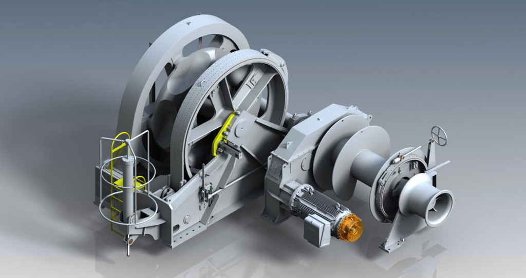 Rendering of the Towimor designed and manufactured combined mooring winch and windlass for world's largest container vessels. Fig.: Towimor