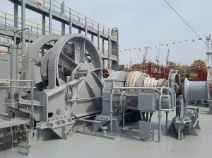 Anchoring and mooring winch from Towimor installed onboard MOL Triumph. Photo: Towimor