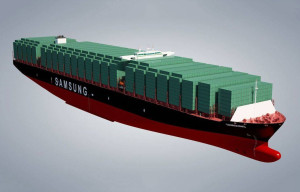 Rendering of the Samsung HI 21 500 design container vessel. Fig.: SHI