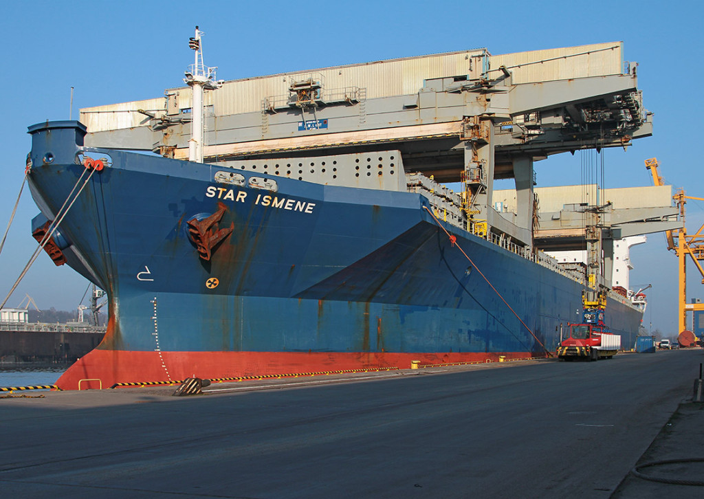 Star Ismene discharging paper in the port of Gdynia
