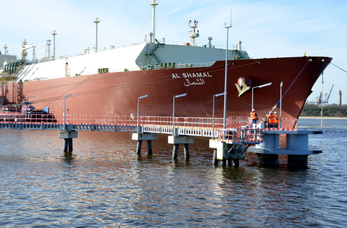 The Al Shamal tanker at the LNG Terminal in Poland. Photo: GAZ-SYSTEM