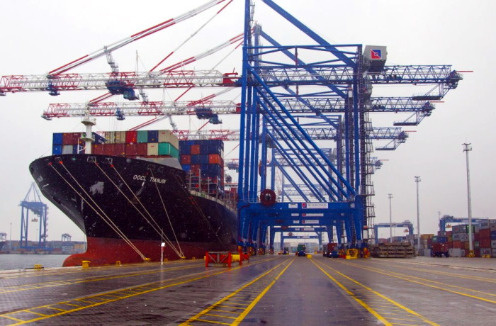 The OOCL Tianjin on 9 May at the DCT Gdansk. Photo: Port of Gdansk