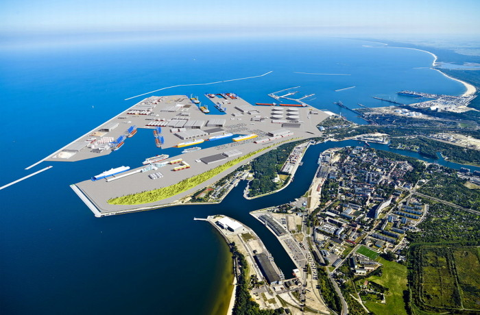 Central Port in Gdansk on the horizon
