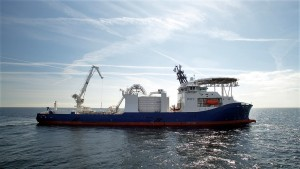 NKT Victoria at sea equipped with a number of cutting-edge features qualifying as the industry's most advanced cable-laying vessel. The partly outfitted hull of the ship was built in Poland for Kleven. Photo: courtesy of NKT