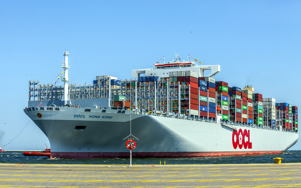 The world's largest container ship in Gdansk