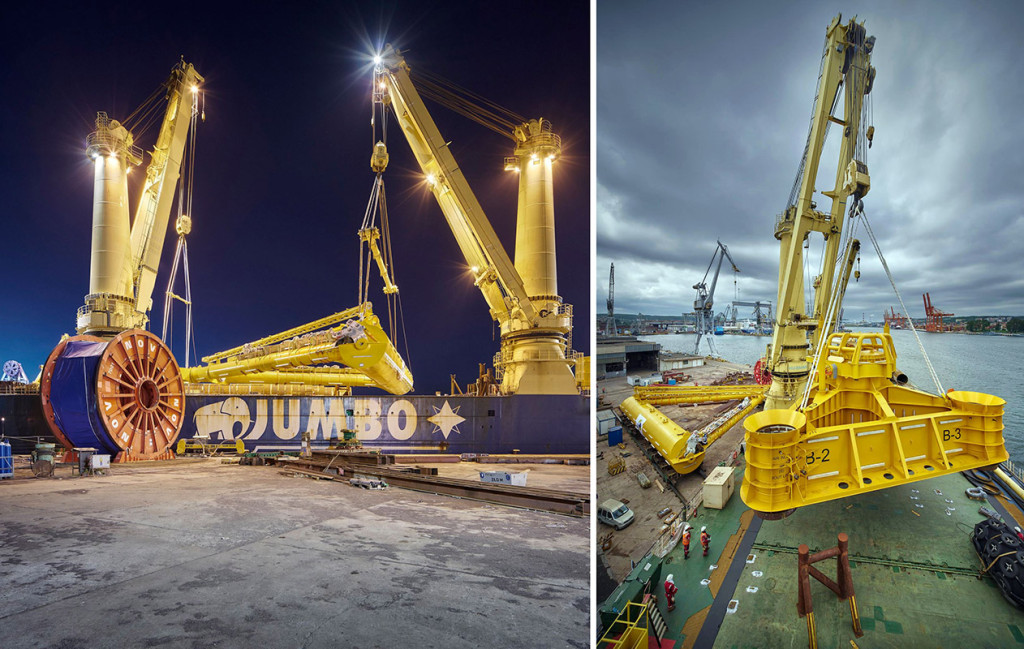 Loading of SAL yoke (left) and anchor base onto Fairplayer heavy-lift vessel moored in Gdynia.